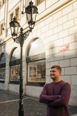 Мужской портрет в Праге. Какая зима в Праге.